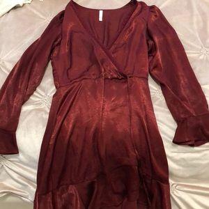 SILK BURGUNDY DRESS